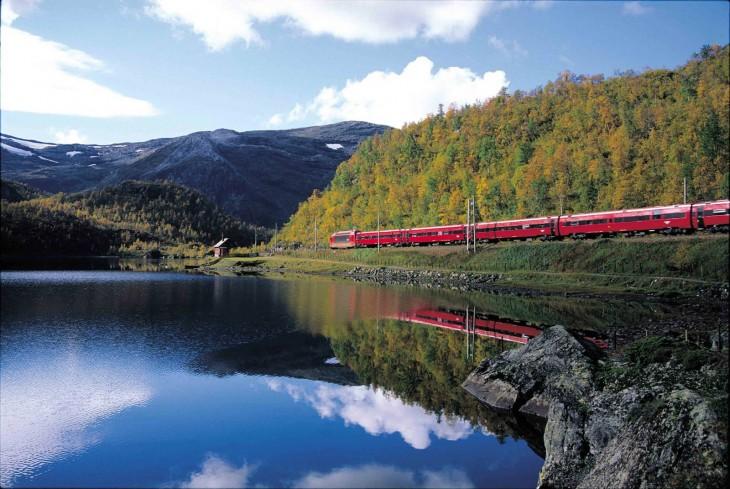 Línea que recorre el tren noruego Bergen