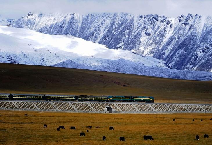 Línea que rrecorre el Qingzang Ferrocarril