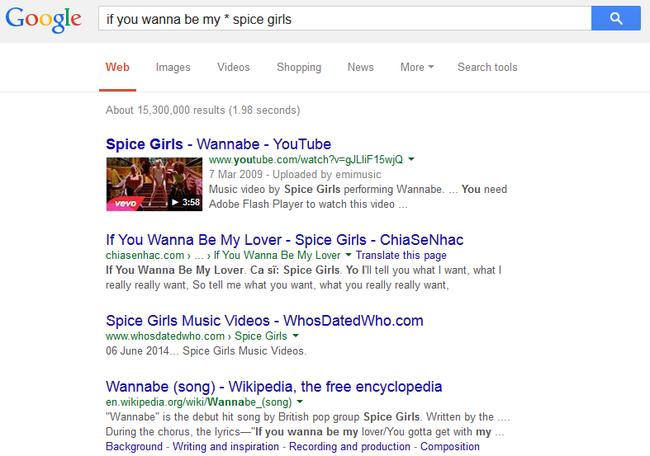 Captura de pantalla donde se busca una canción con sólo una parte de la canción