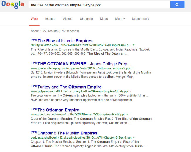 Captura de pantalla que muestra la búsqueda por tipo de archivo
