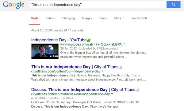 Captura de pantalla que muestra un ejemplo de búsqueda entre comillas