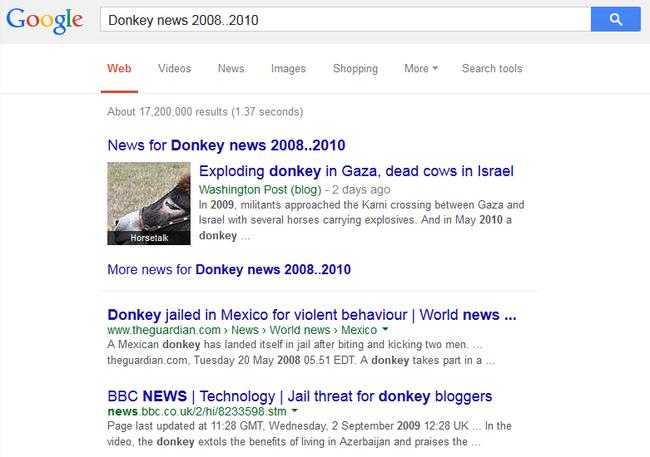 Captura de pantalla ejemplificando la limitación que da google cuando colocas dos puntos entre dos cifras
