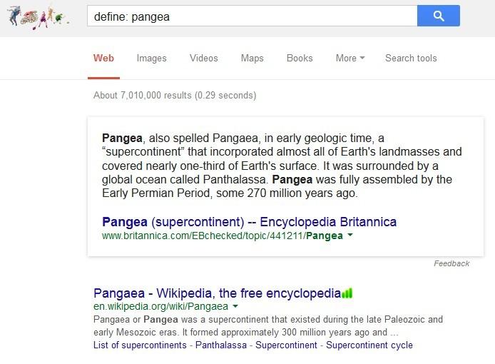 Ejemplo a través de una captura de pantalla de cómo buscar la definición de palabras en Google