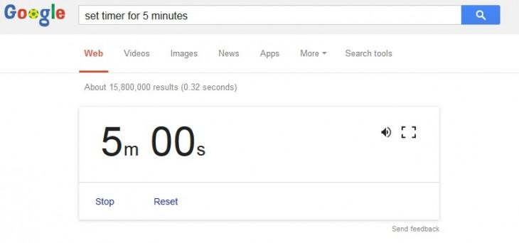 Captura de pantalla que muestra como poner un temporizador en la búsqueda de Google