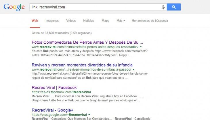 Captura de pantalla donde muestra un ejemplo de poner link antes de un sitio web que se busca