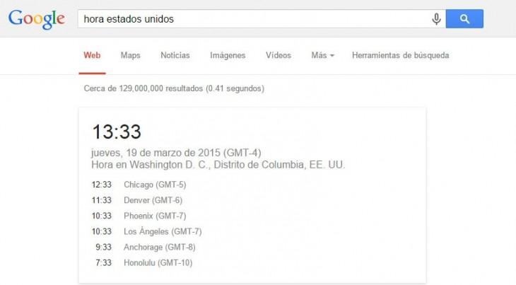 Captura de pantalla de la búsqueda de la hora de estados unidos
