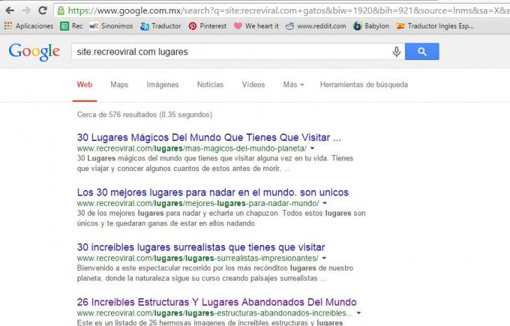 ejemplo de como buscar un sitio en google