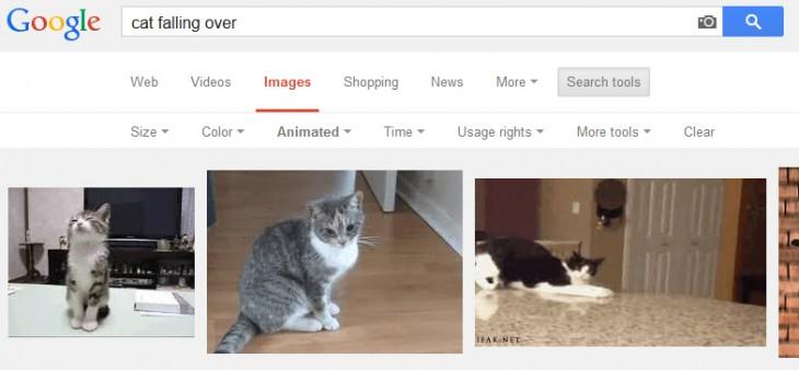 Captura de pantalla que muestra como encontrar de manera más fácil GIF en google