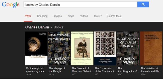 Captura de pantalla donde nos muestra un ejemplo de búsqueda de libros de un autor