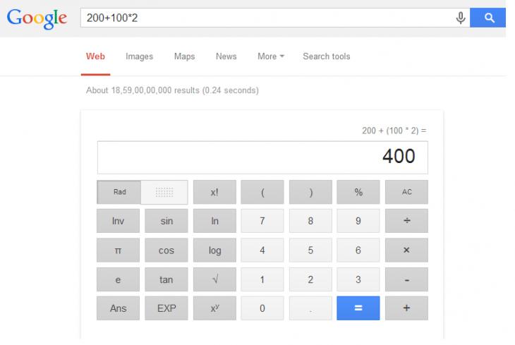 Captura de pantalla que ejemplifica el resultado arrojado de poner una ecuación en la búsqueda de Google