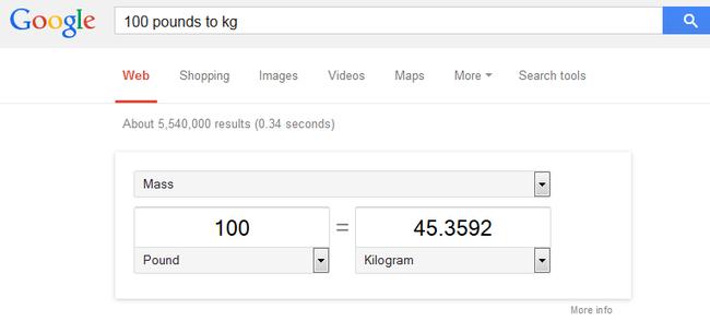 Captura de pantalla donde muestra el convertidor de unidades por medio de Google
