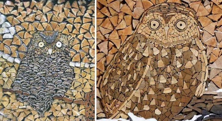 imagen dividida en dos partes formando dos Búhos en diferente color