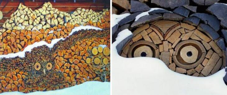 Imagen dividida en dos partes donde se muestran figuras de Búho hechas con pedazos de troncos