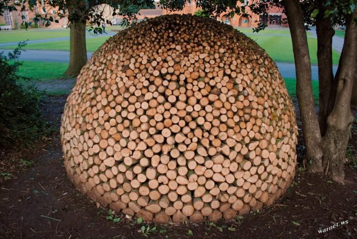 Pedazos de troncos apilados formando un enorme bola junto a un árbol