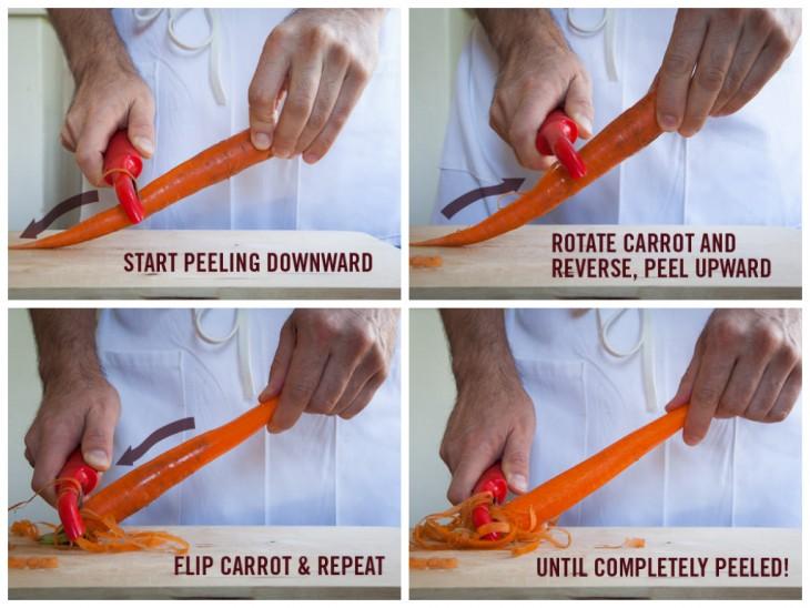 como pelar Zanahorias