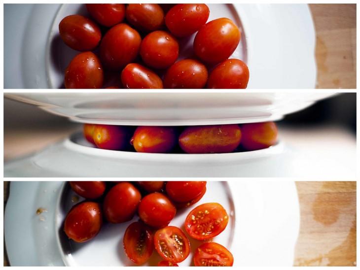 cortando Tomates Cherry con 2 platos