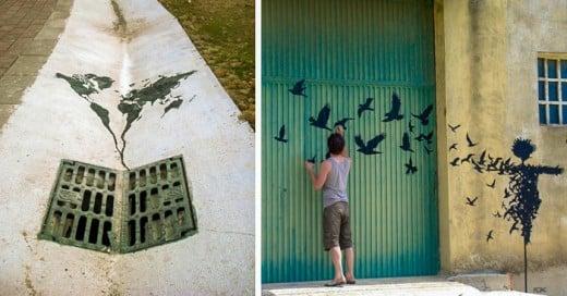 artista pejac hace arte urbano