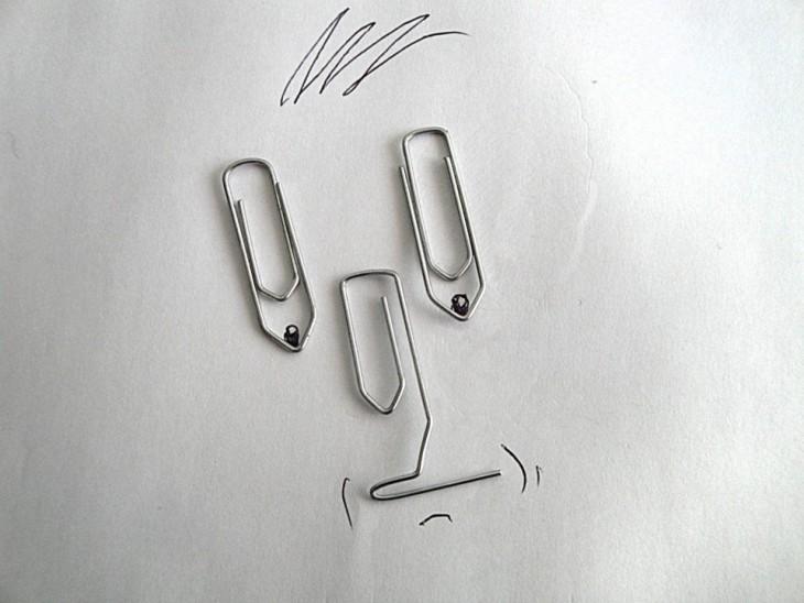 dibujo con paper clips de artista victor nunes