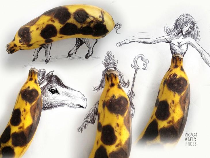 dibujo con bananas de artista victor nunes
