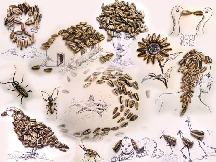 dibujo con semillas de girasol de artista victor nunes