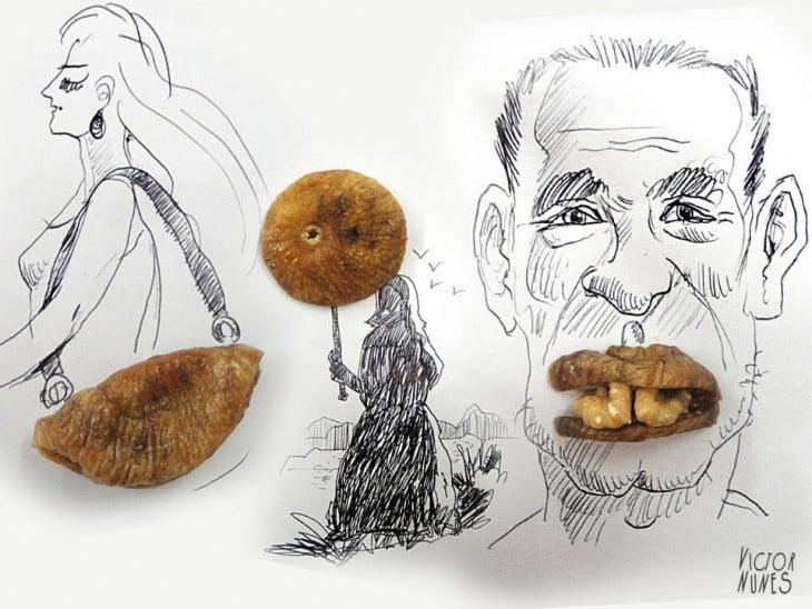 dibujo con hongos de artista victor nunes
