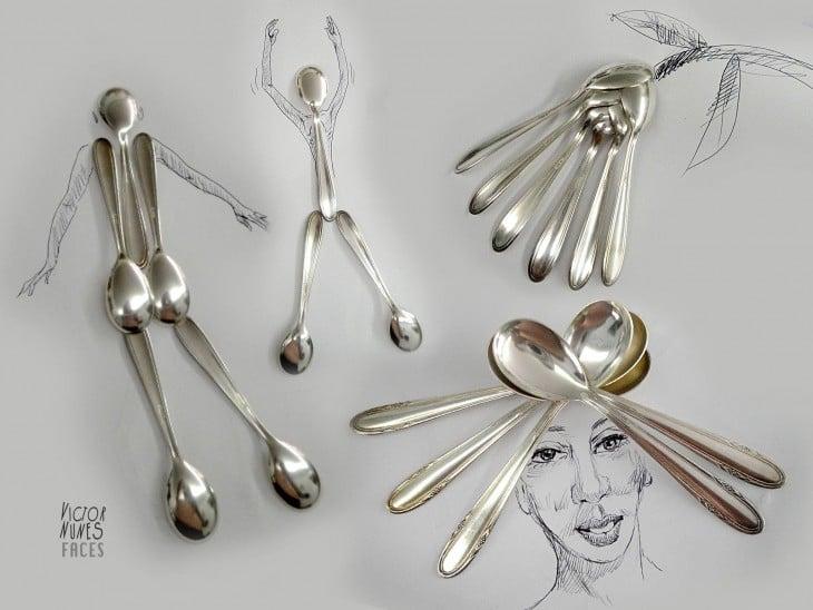 dibujo con cucharas de artista victor nunes