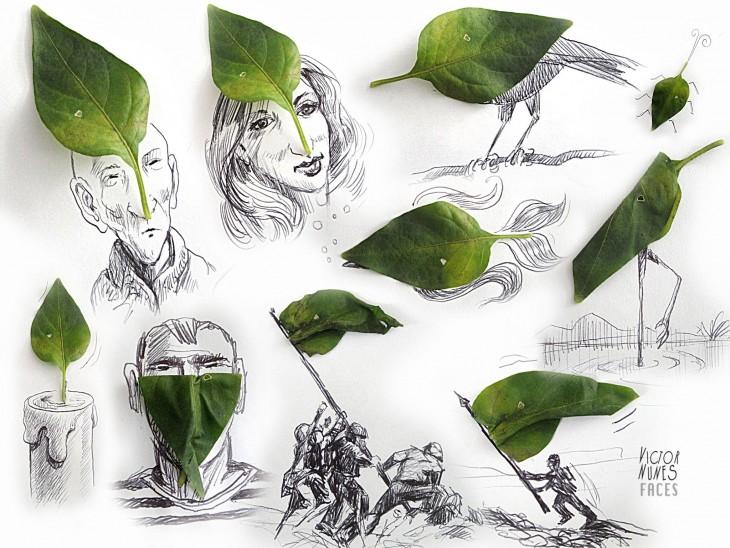 dibujo con hojas de artista victor nunes
