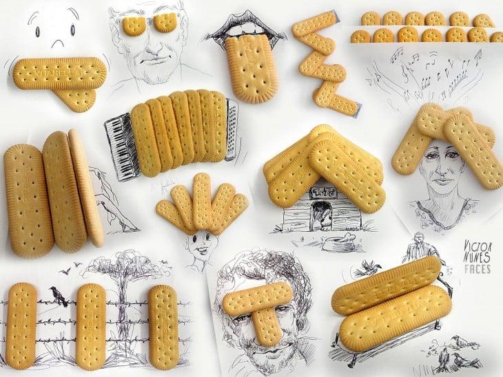 dibujo con galletas de artista victor nunes