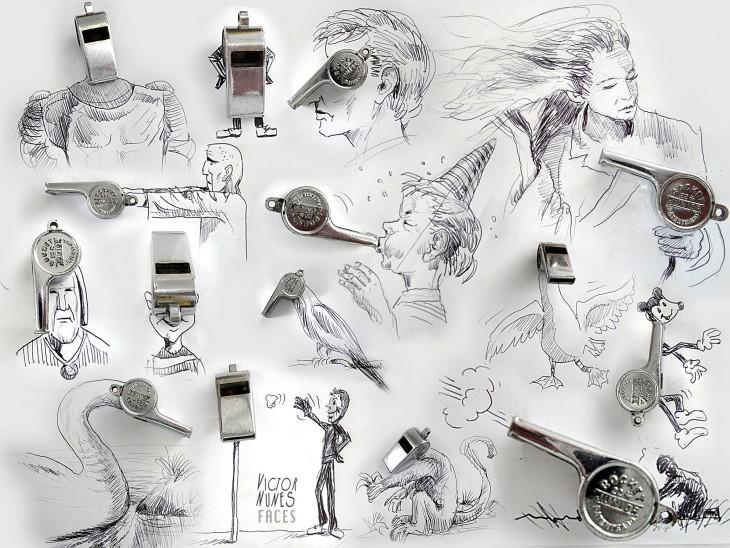 dibujo con chiffles de artista victor nunes