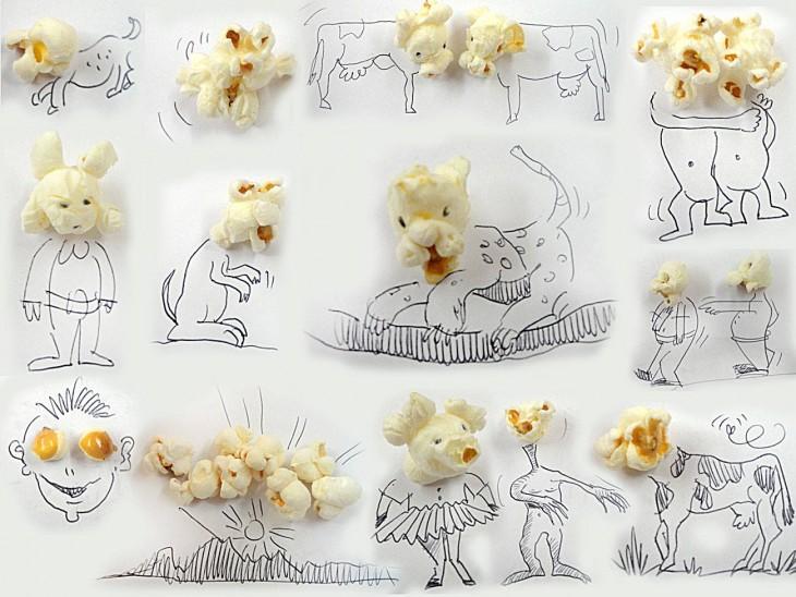 dibujo con pop corn de artista victor nunes