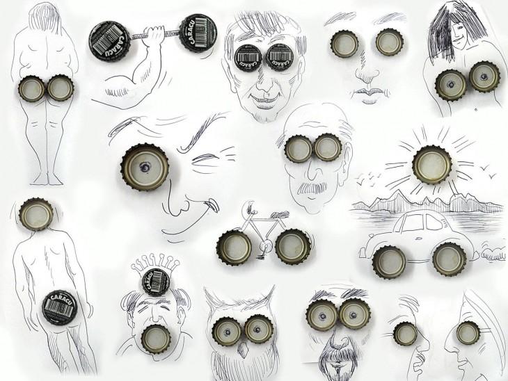 dibujo chapitas de artista victor nunes