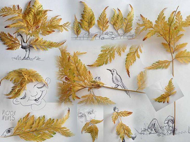 dibujo con hojas del artista victor nunes