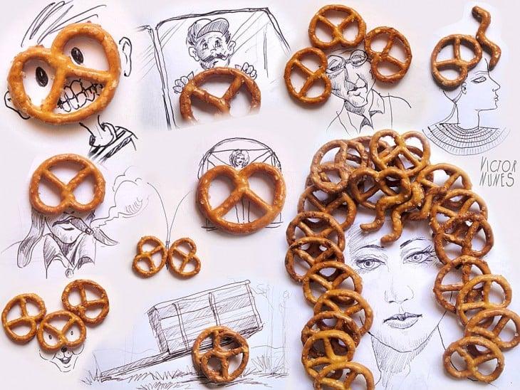 dibujo con pretzel de artista victor nunes