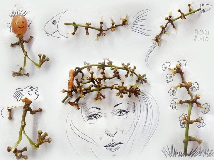 dibujo con uvas de artista victor nunes