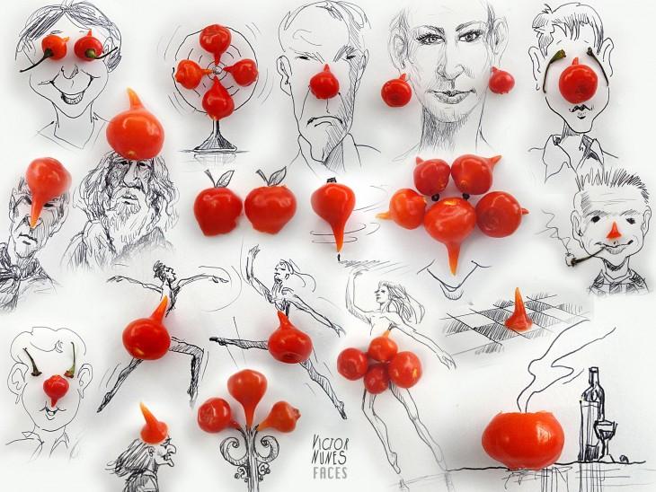 dibujo con frutas de artista victor nunes