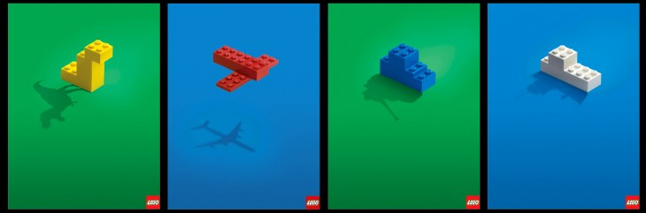 publicidad de lego, donde las sombras muestran el objeto