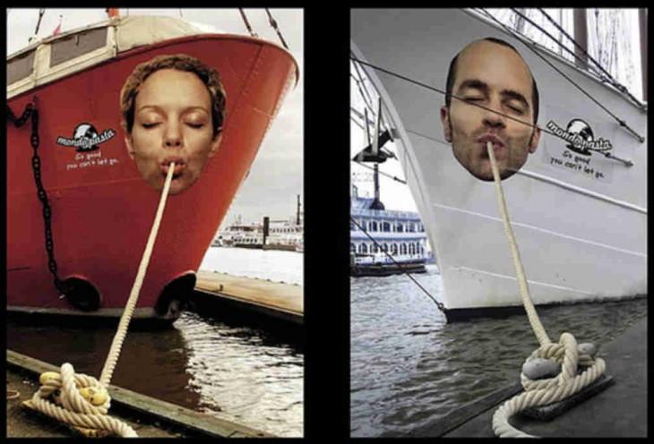 Pasta Mondo, barcos toman sogas como spaghettis