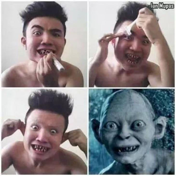 hombre pintándose los dientes y estirando sus orejas
