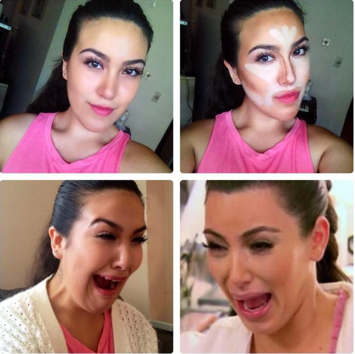 mujer con crema facial  llorando