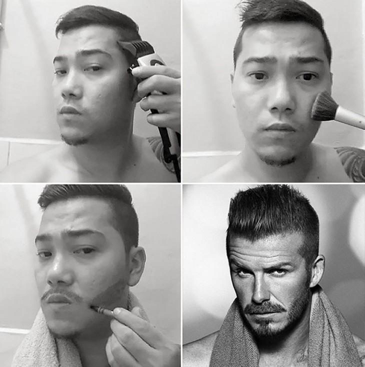 hombre maquillándose una barba y poniéndose una toalla en los hombros