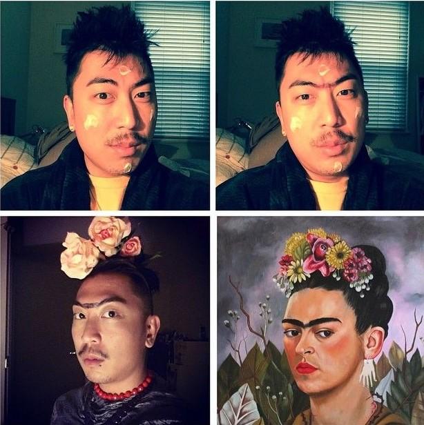 hombre con bigote y flores en la cabeza