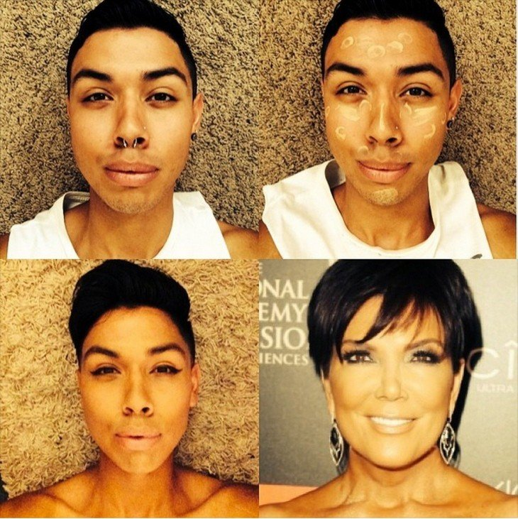 hombre imitando a una mujer con maquillaje