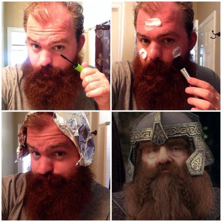hombre con barba poniéndose un sombrero de papel aluminio
