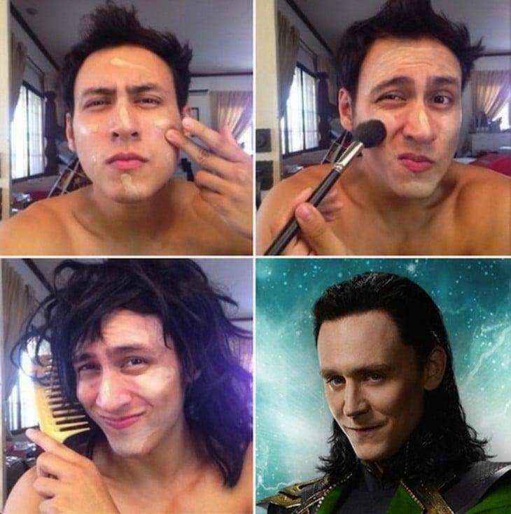 hombre con el cabello largo maquillándose y peinándose