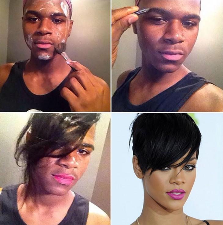 hombre maquillándose y depilándose la cejas