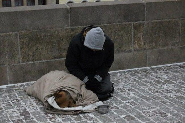 hombre protegiendo a un perro del intenso frío