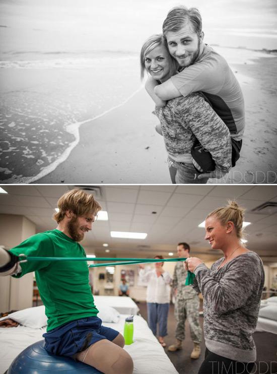 mujer ayudando a su esposo que no tiene brazos ni piernas