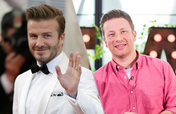 David Beckham y Jamie Oliver