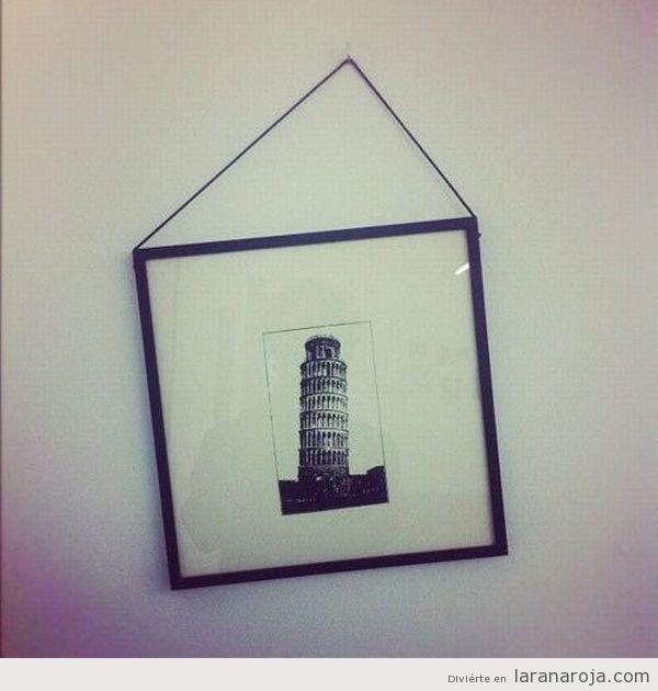 cuadro inclinado endereza la torre de pisa