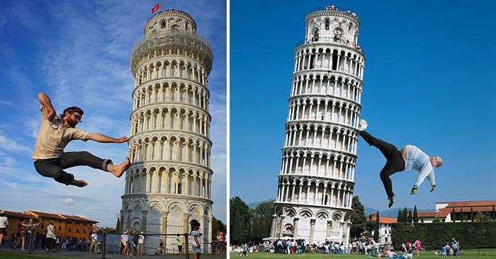 foto de Fotos divertidas sujetando la torre inclinada de Pisa
